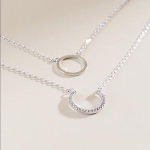 925 Silver Annika Circle Layered Pendant Necklace